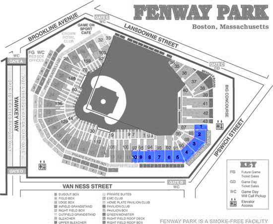 Red Sox Outfield Grandstand Tickets